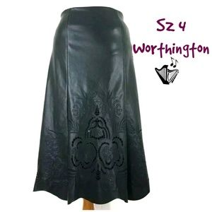 NWT Punched Faux Leather Skirt Worthington Sz 4